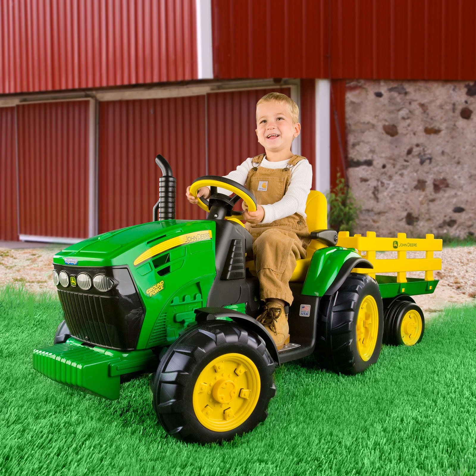 peg perego john deere ground tractor trailer battery powered riding toy