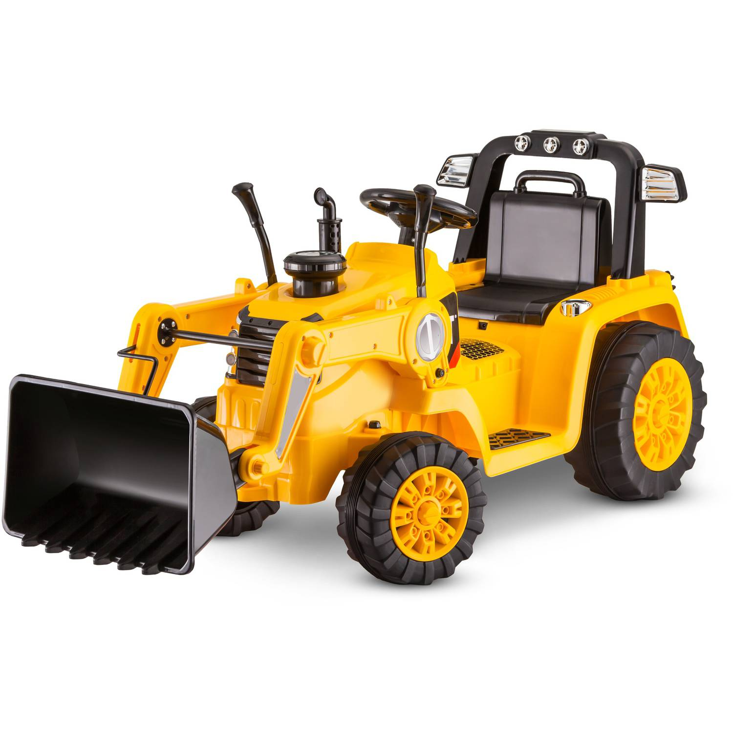 kid trax 6v caterpillar tractor battery powered ride on yellow walmart
