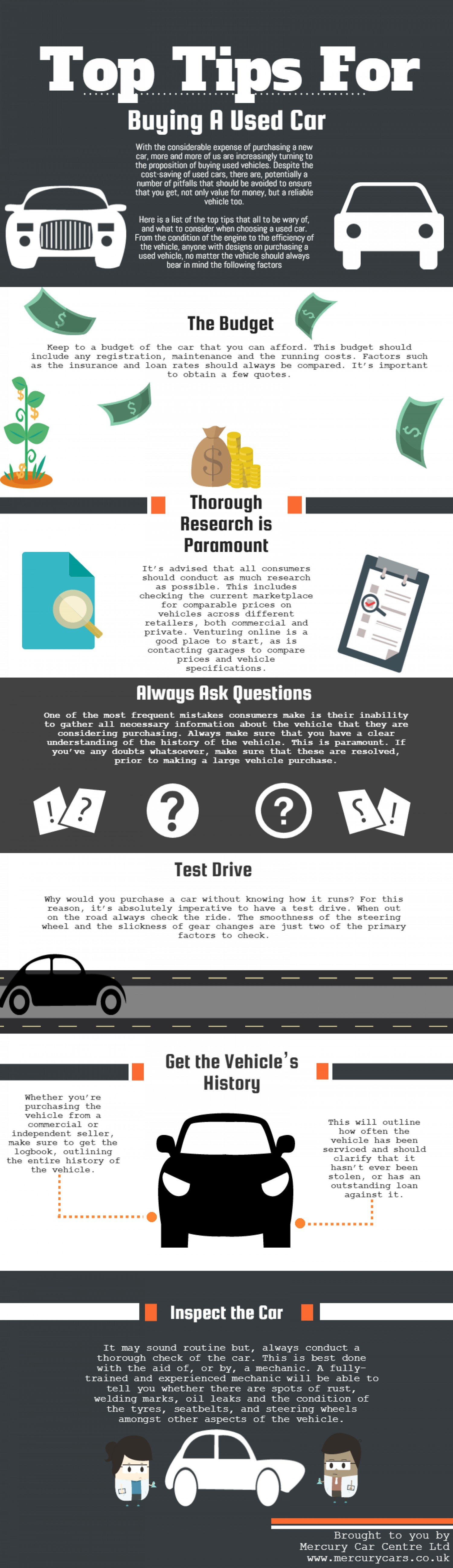 top tips for ing a used car infographic