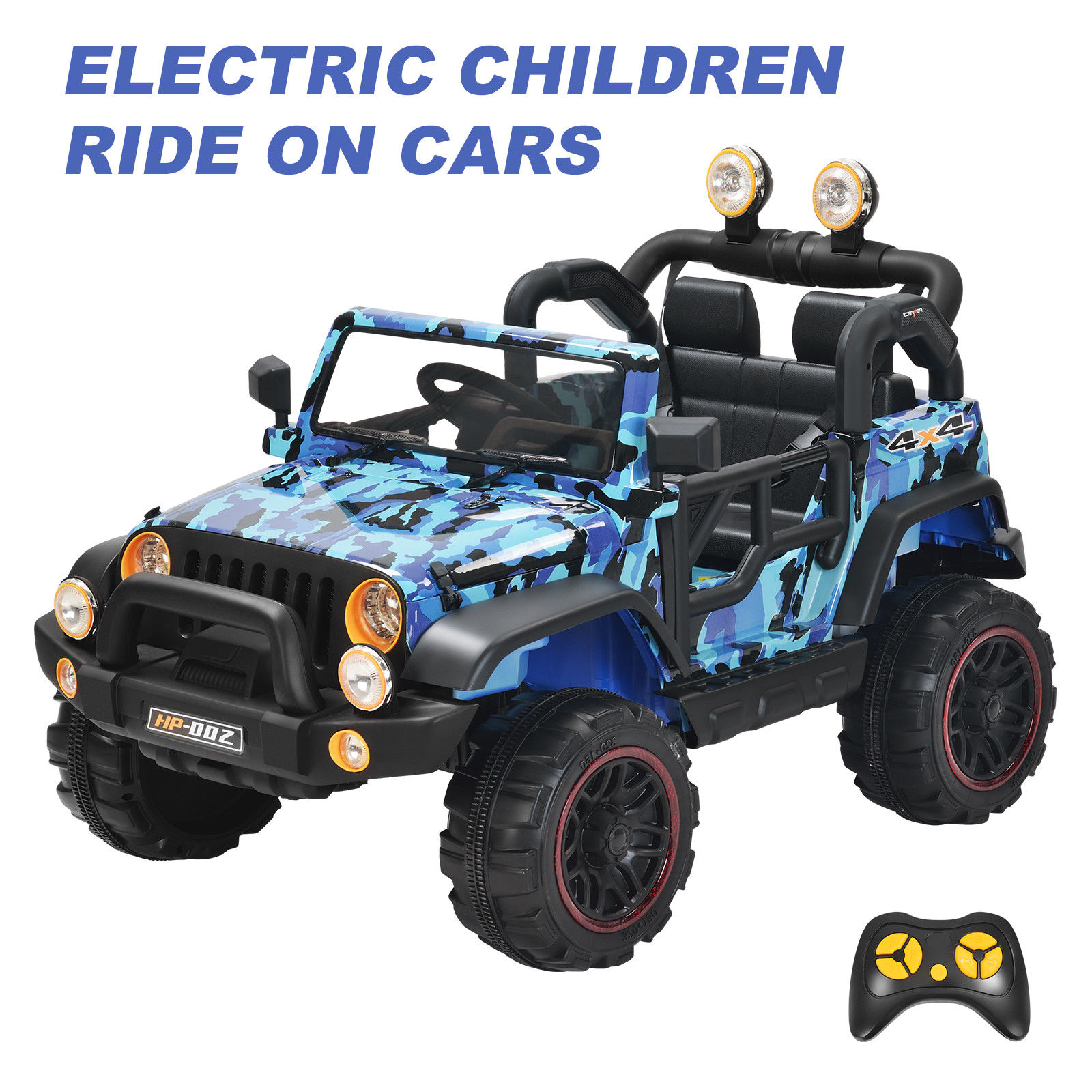 12v kids ride on cars electric battery power wheels remote control 2 speed blue