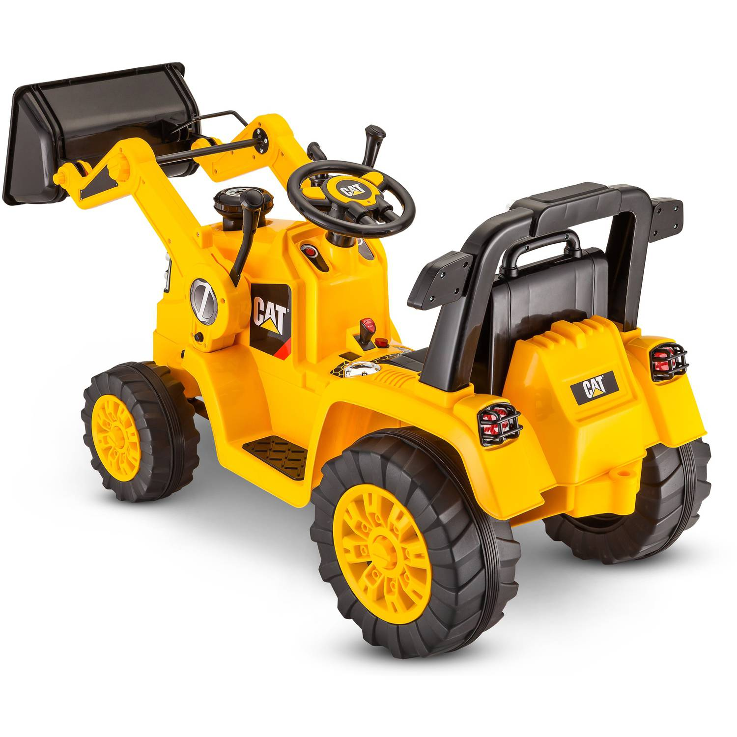 kidtrax cat bulldozer tractor 6v battery powered ride on yellow kids electric