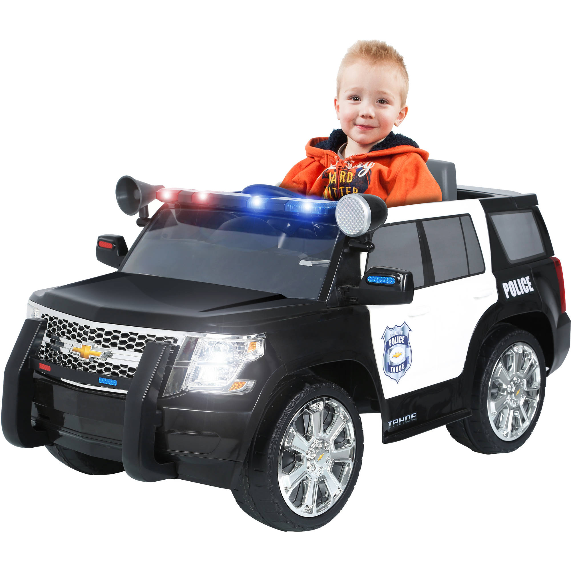 rollplay chevy tahoe police suv 6 volt battery powered ride on walmart