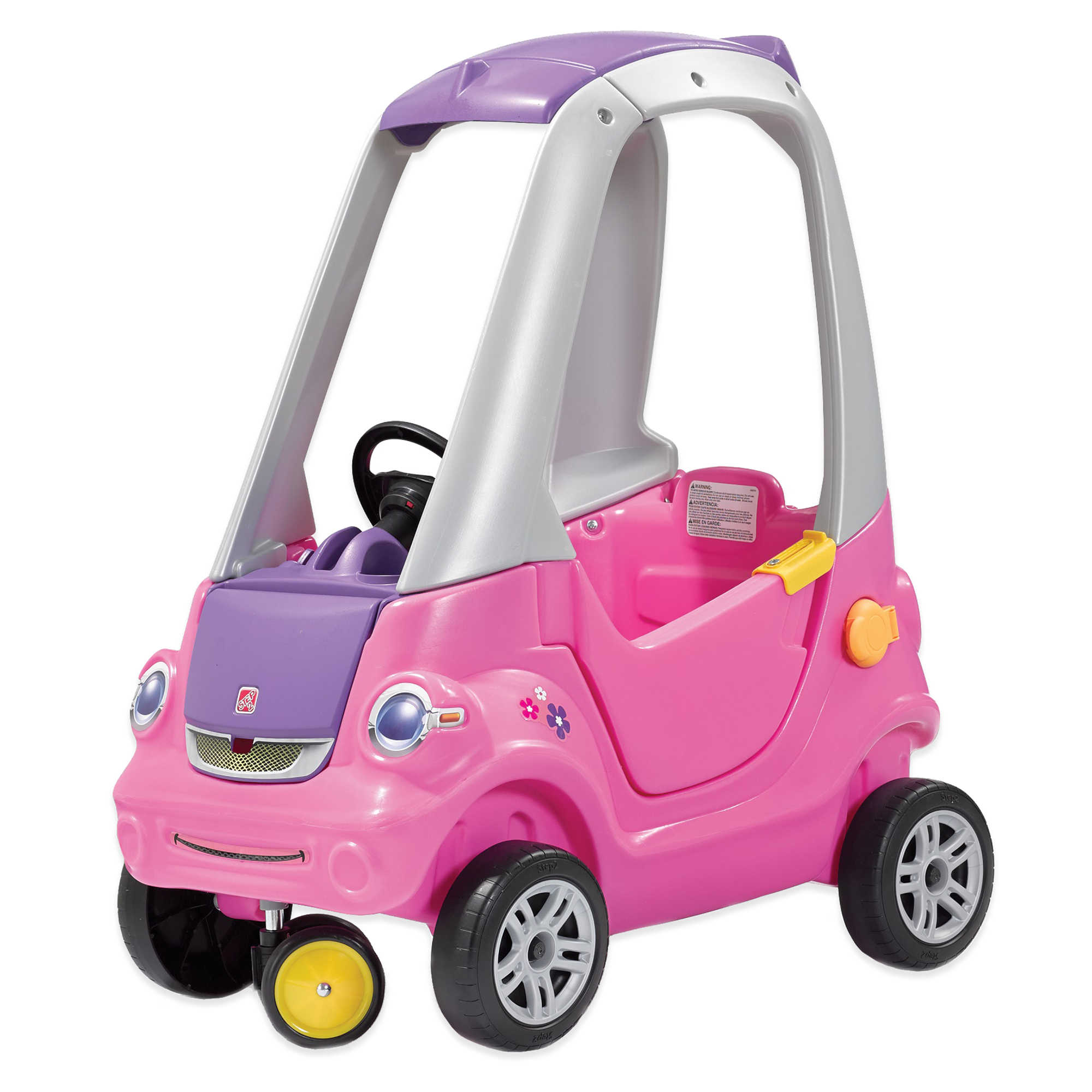 step2 toddler outdoor push ride on toy car for kids easy turn coupe in pink