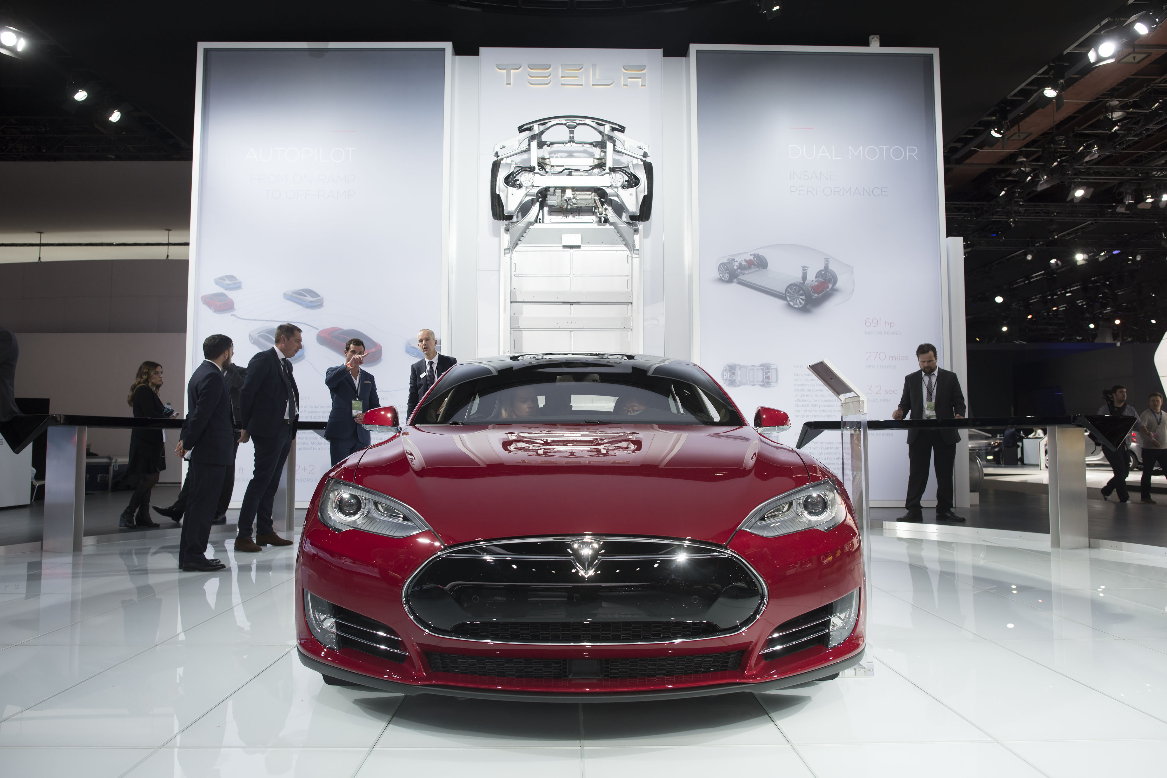a tesla model s p85d is displayed at the 2015 north american international auto show in