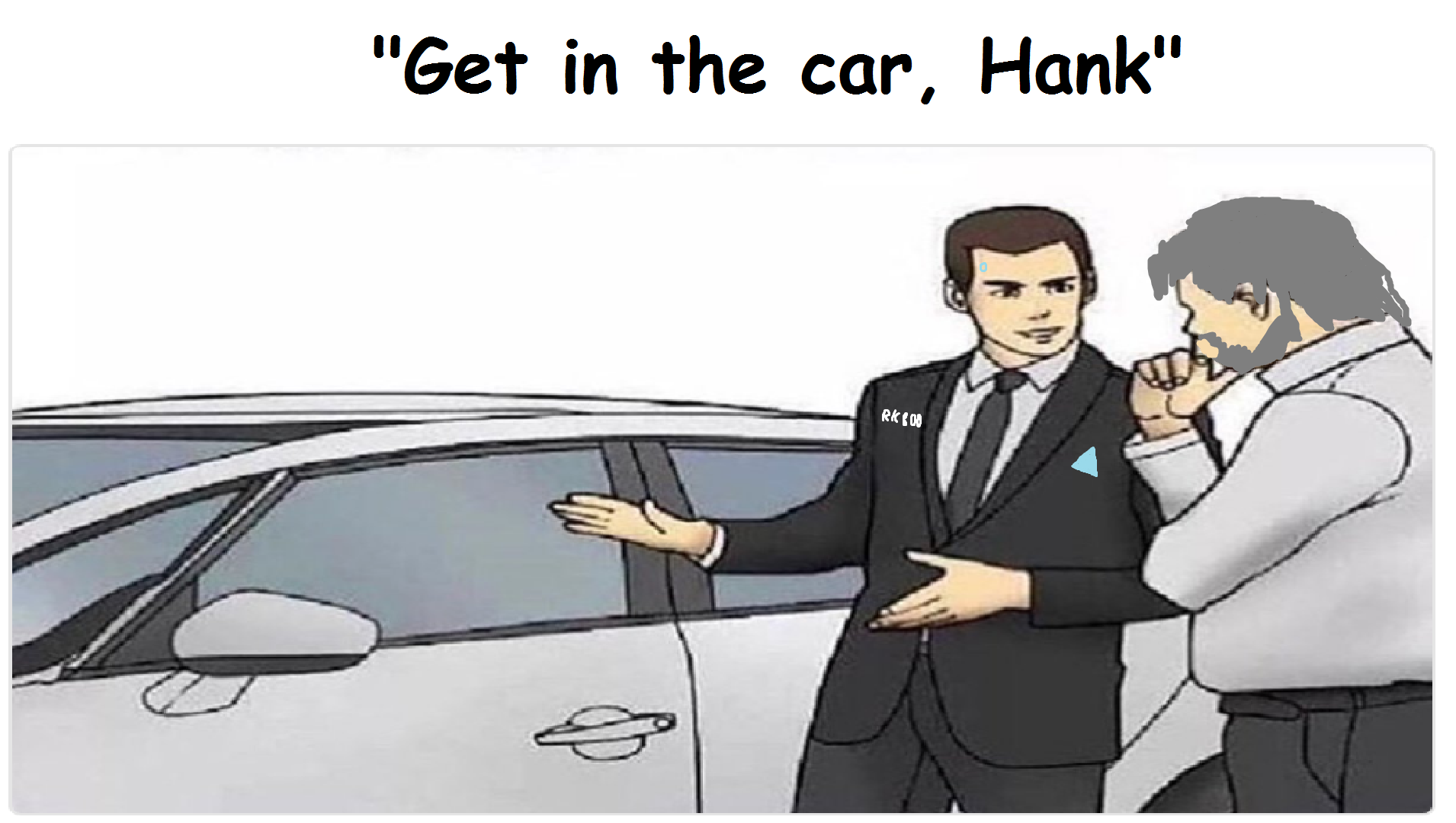 "always thought the ""car salesman"" from this meme format looked like connor"