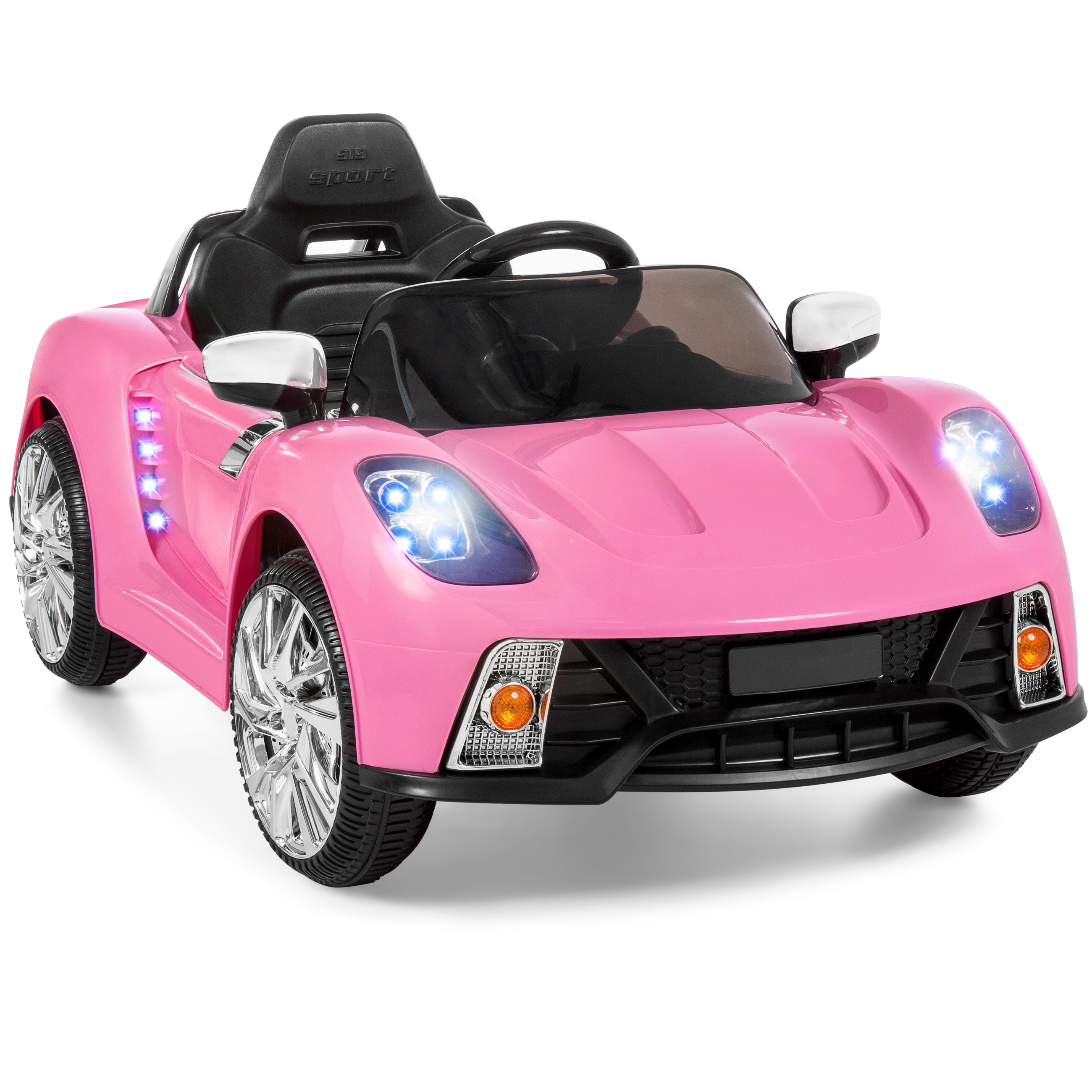 best choice products 12v kids battery powered remote control electric rc ride on car w led lights mp3 aux pink walmart