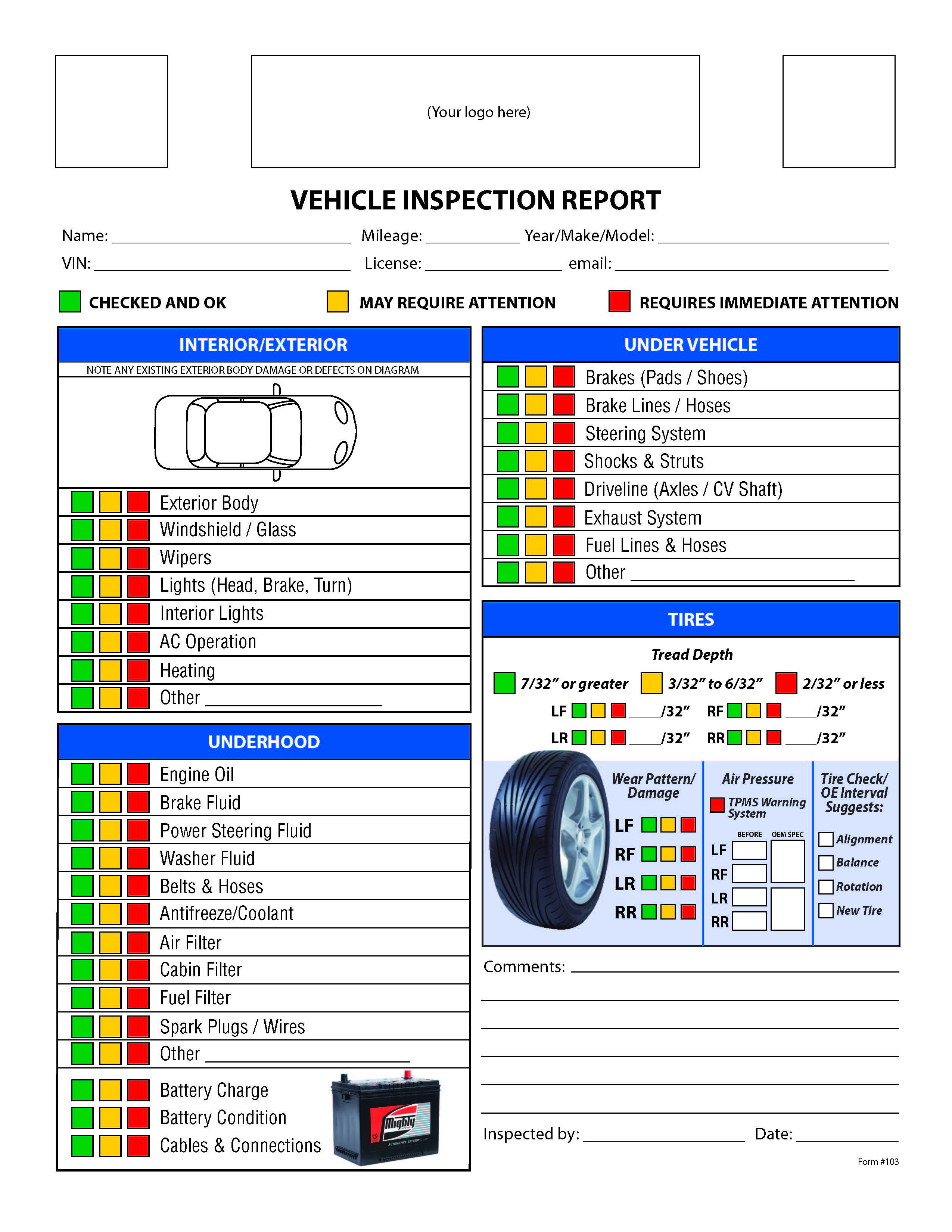 Free Used Car Lovely Free Vehicle Inspection Checklist form Good to Know