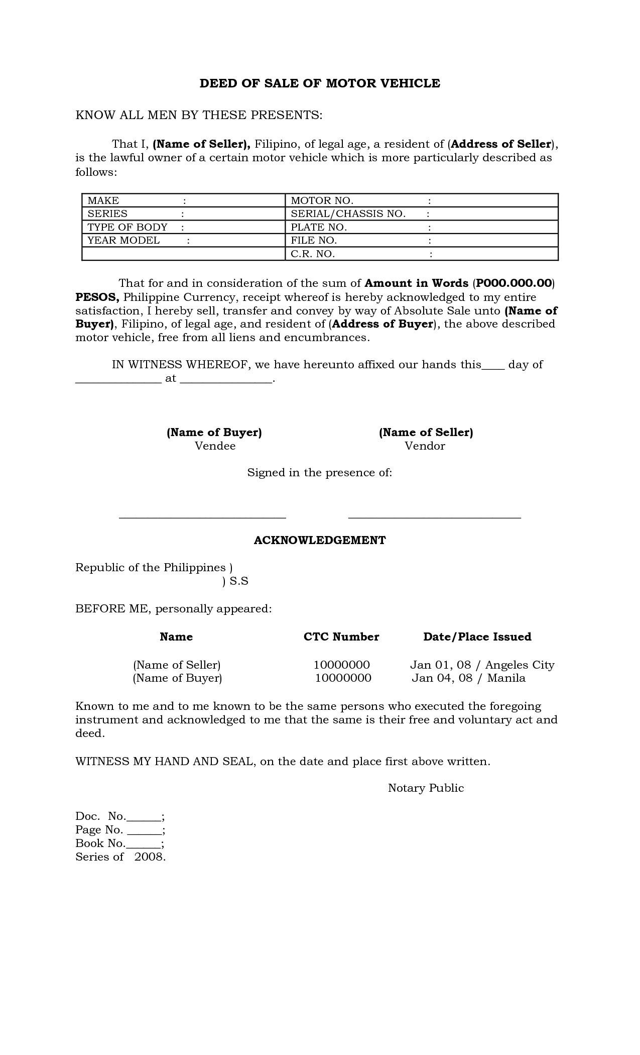 philippines deed of sale of motor vehicle by batotoyako sale deed for car