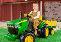 Battery Ride On toys Awesome Peg Perego John Deere Ground Tractor Trailer Battery Powered