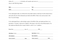 Car Sale Document Lovely Printable Sample Bill Of Sale Templates form