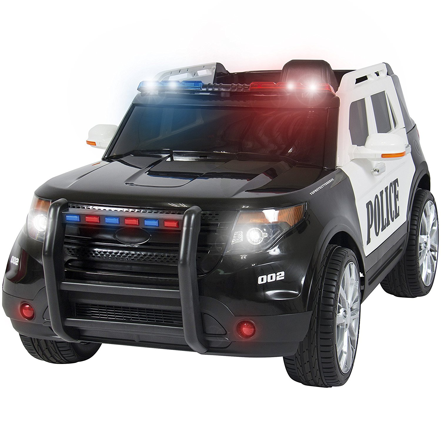 best choice products 12v kids police rc remote ride on suv car w parent control 2 speeds lights aux sirens black toys games