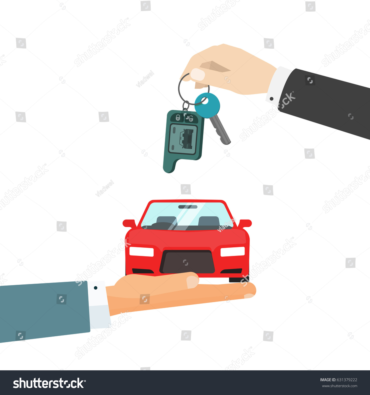 hands giving car and car keys illustration idea of automobile rent auto sell flat