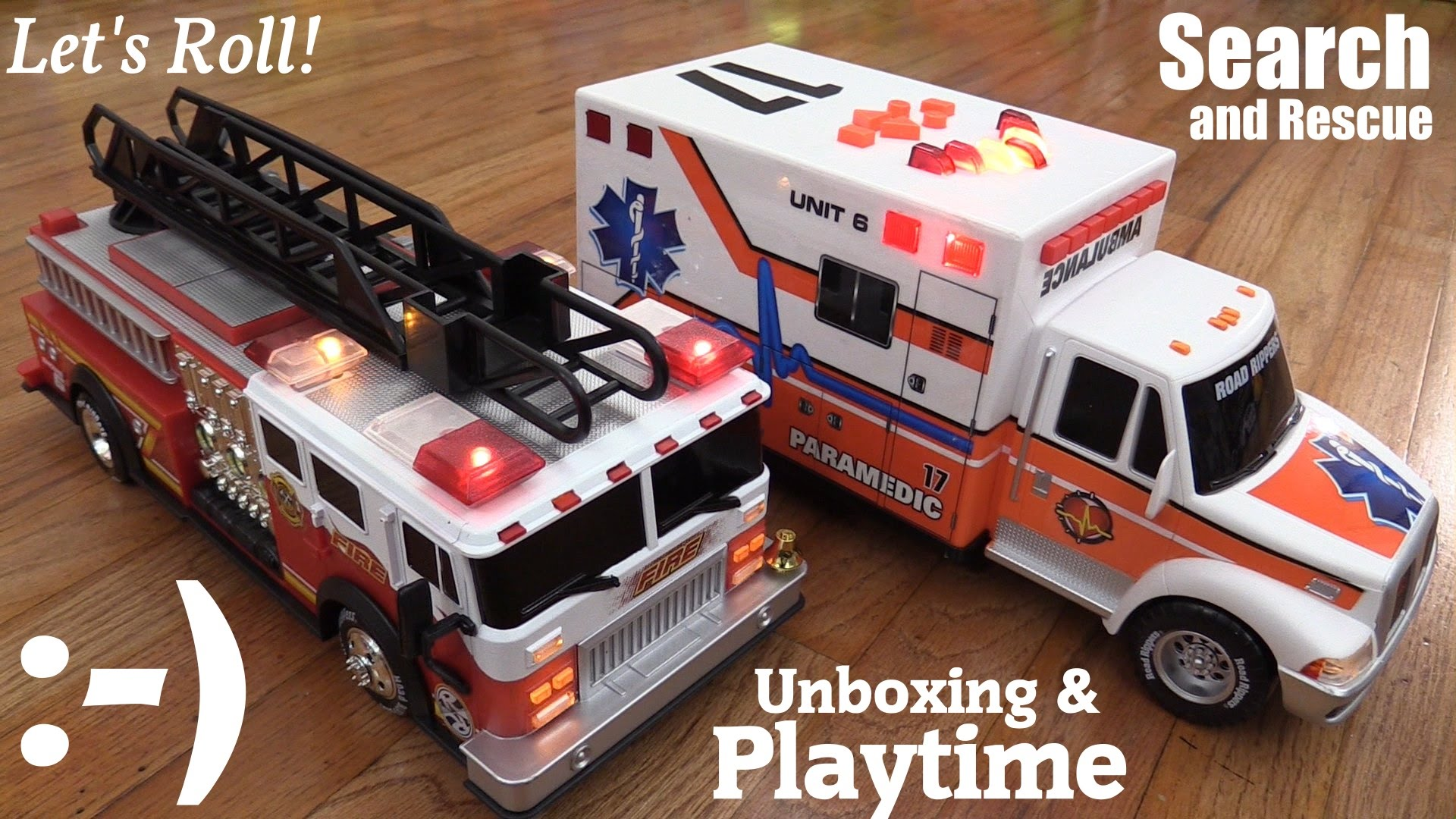 battery operated toy cars road rippers fire truck and ambulance toy vehicle unboxing youtube