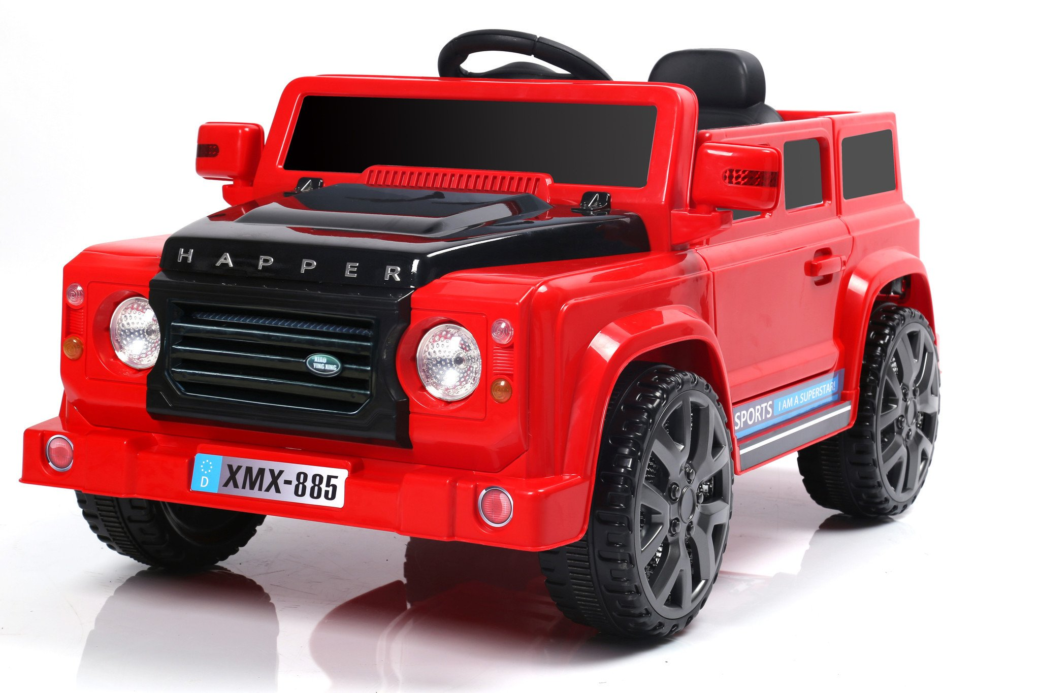 6v 50w battery powered land rover style twin motor electric toy car model xmx885 red