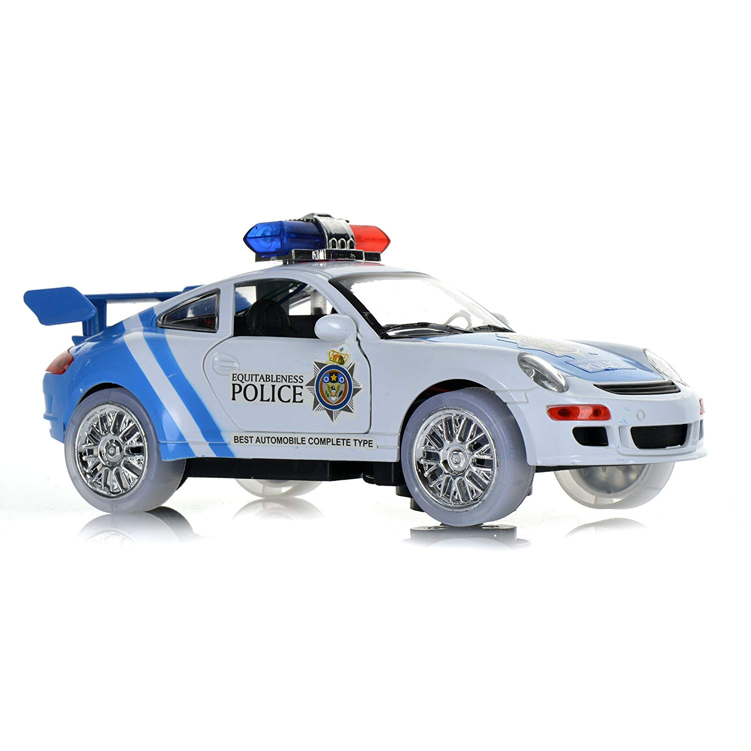 toysery police car toy with 3d technology flashing lights and sounds bump and go action car toys for kids boys and girls toys games
