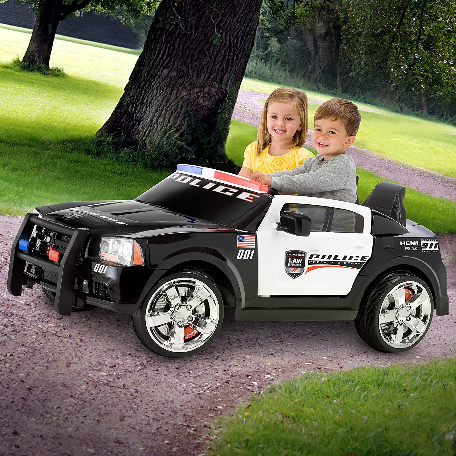 kid trax dodge charger pursuit 12v police car kt1111wm ride on toys games