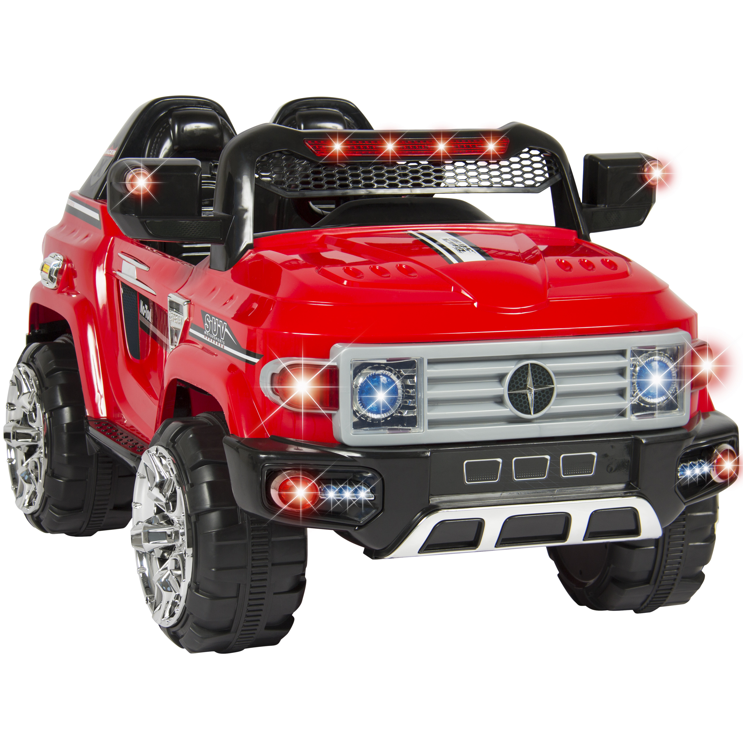 best choice products 12v kids rc remote control truck suv ride on car w 2 speeds led lights mp3 aux cord red walmart