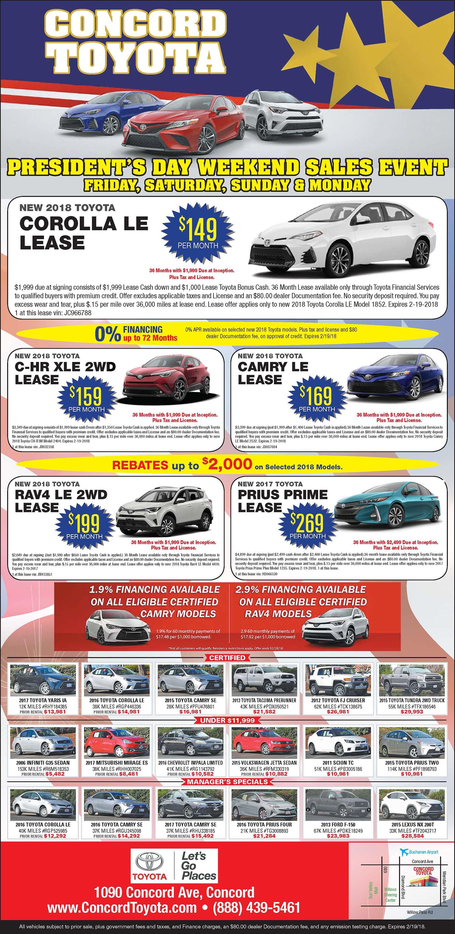 Cars for Sale Near Me Monthly Payments Luxury Concord toyota Print Ad Specials
