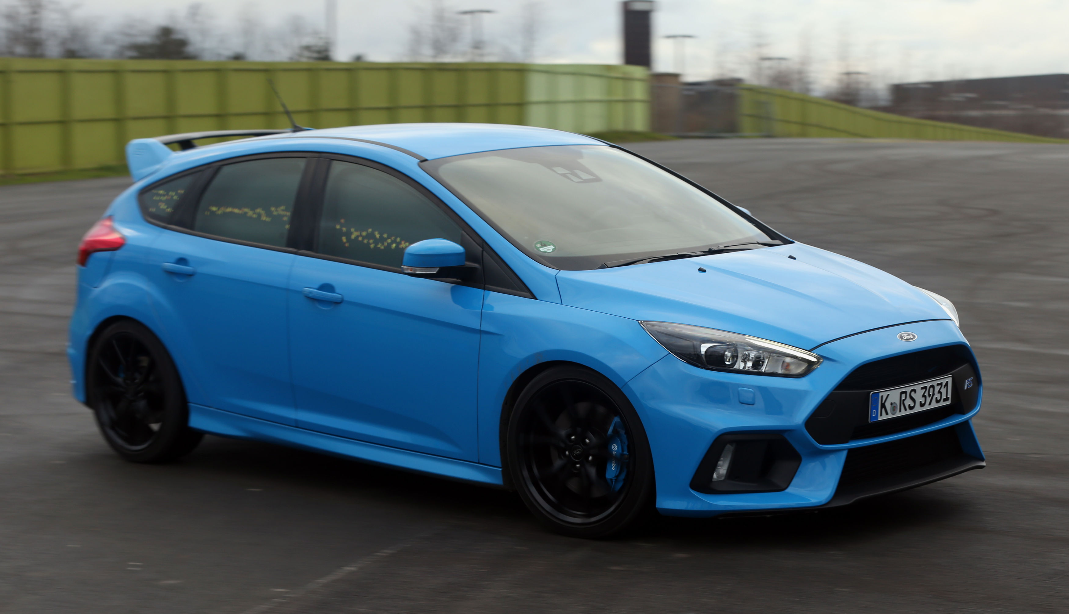 a ford focus rs at stratford waterfront in london displays its buzz moment