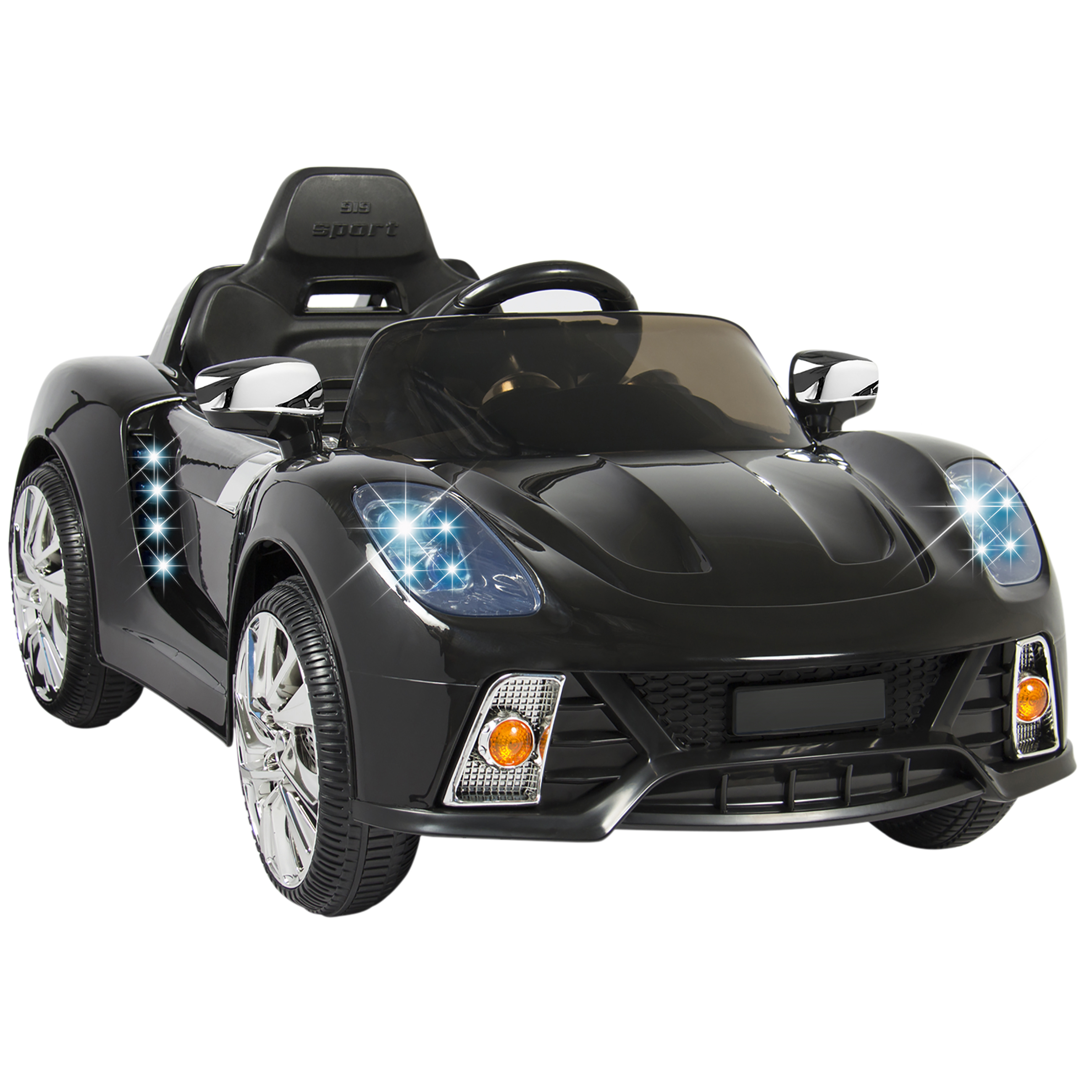 best choice products 12v kids battery powered remote control electric rc ride on car w led lights mp3 aux black walmart