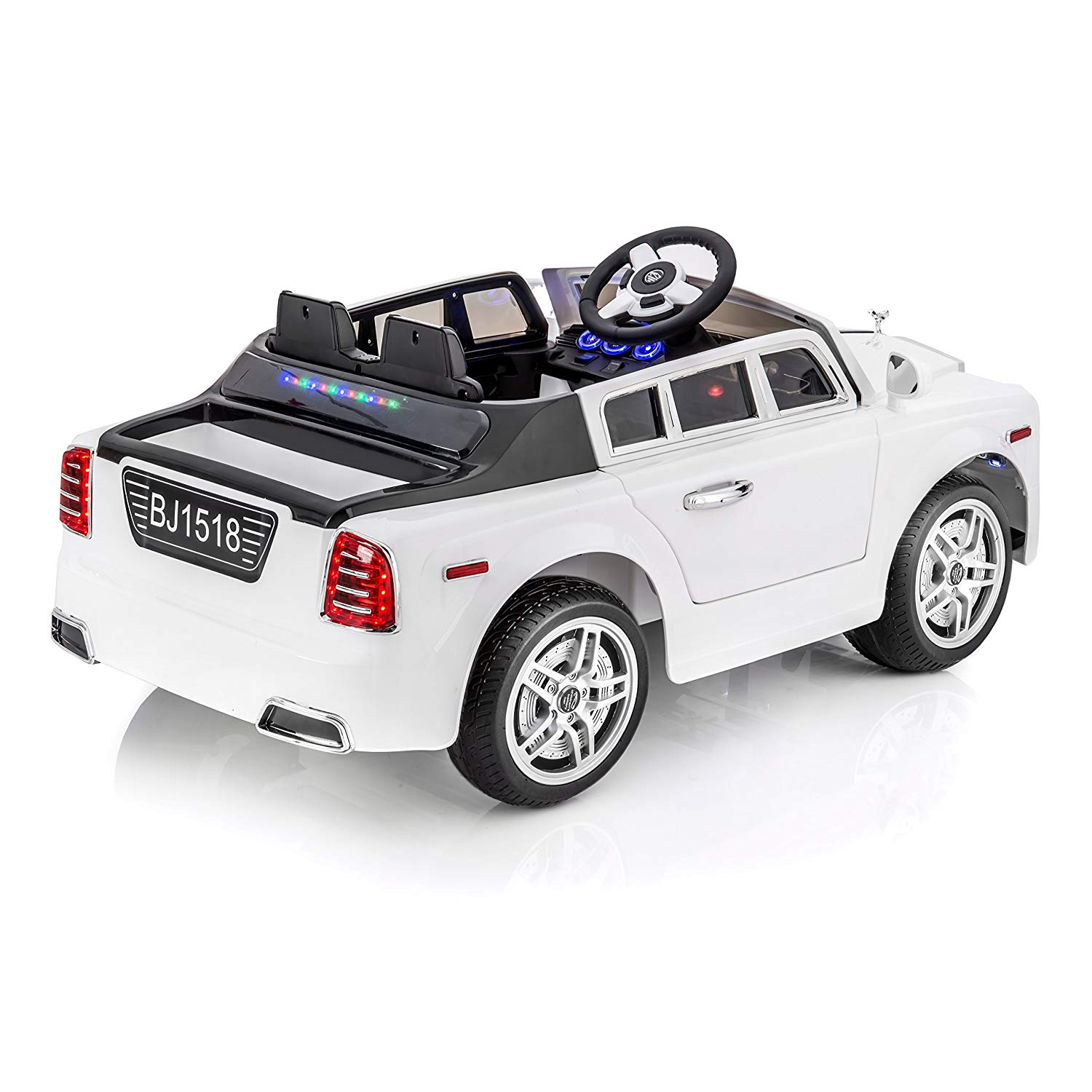 sportrax ghost luxury kid s ride on car battery powered remote control w free mp3 player white toys games