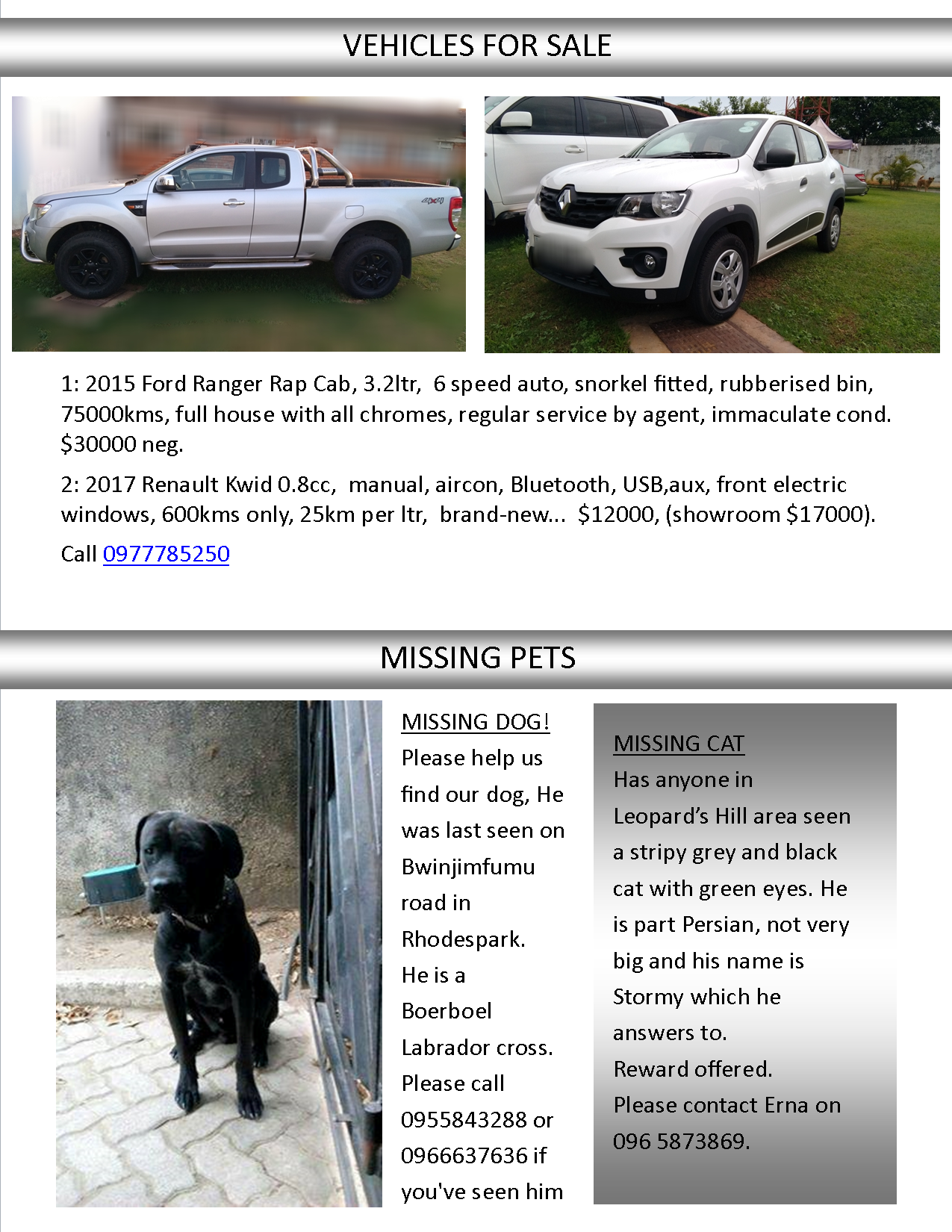 22 01 2018 vehicles for sale missing pets