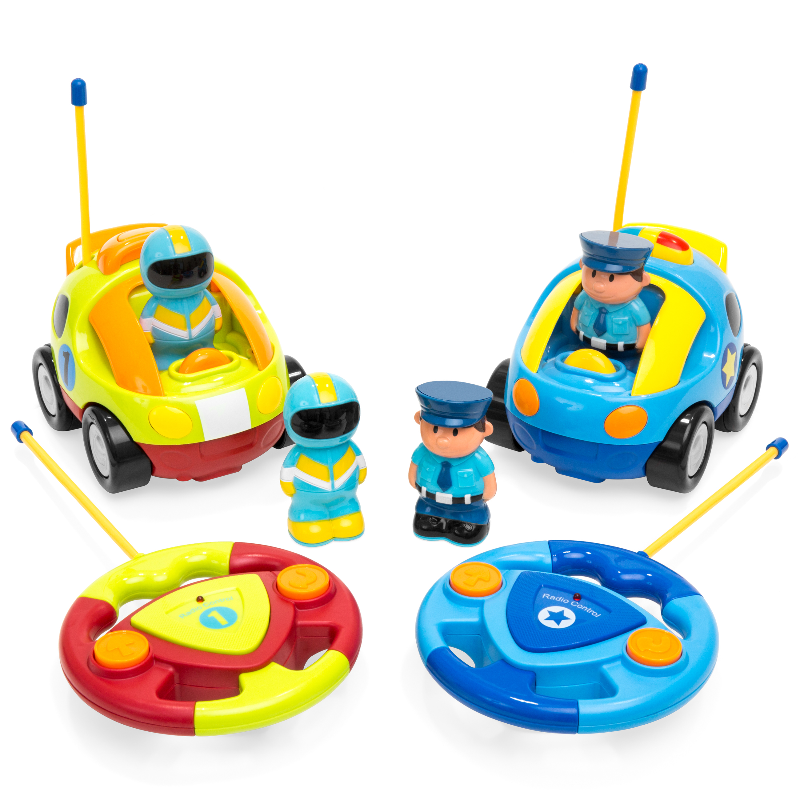 best choice products 2 pack kids cartoon remote control rc police car and race car