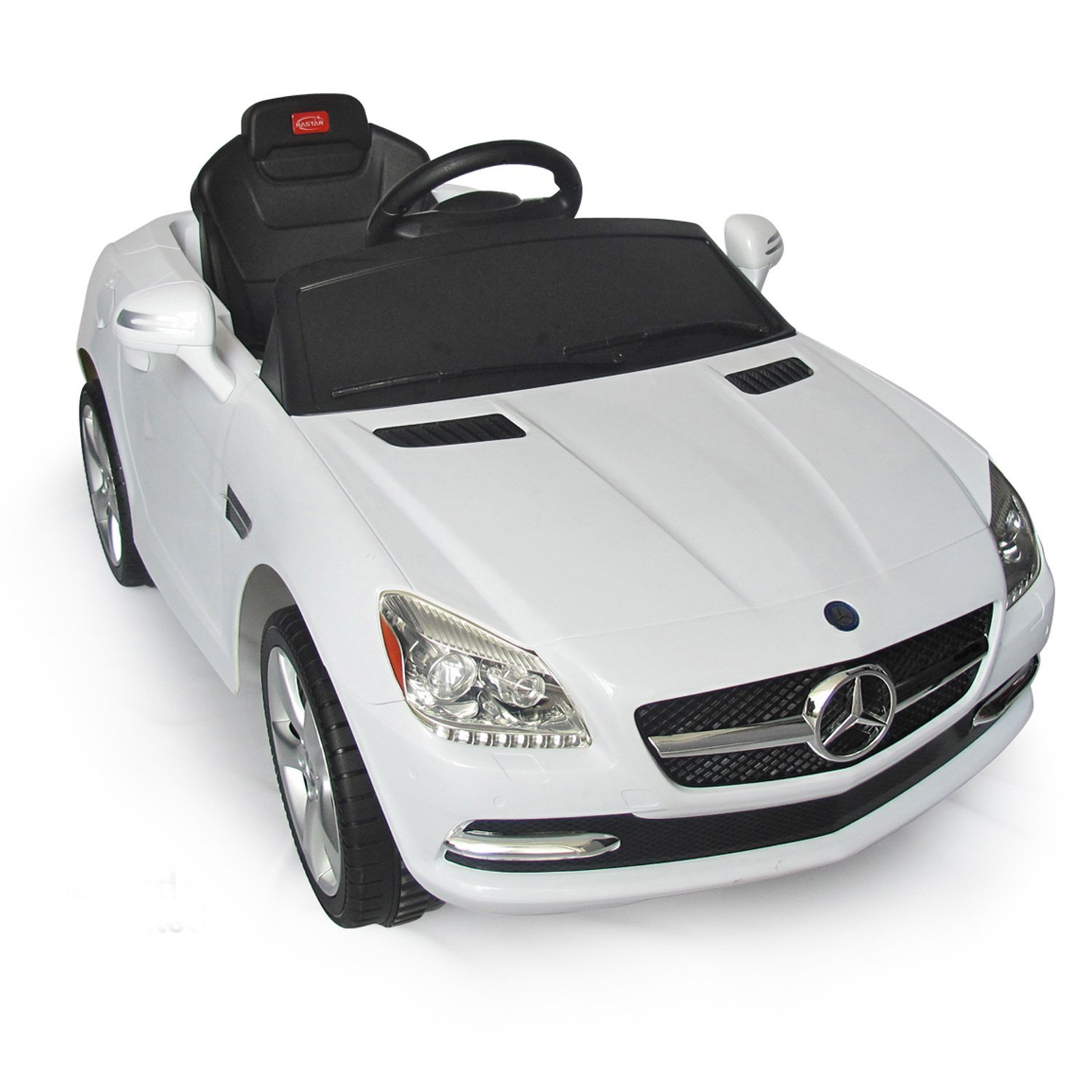 white mercedes benz slk rc kids electric ride on car lights and sound walmart