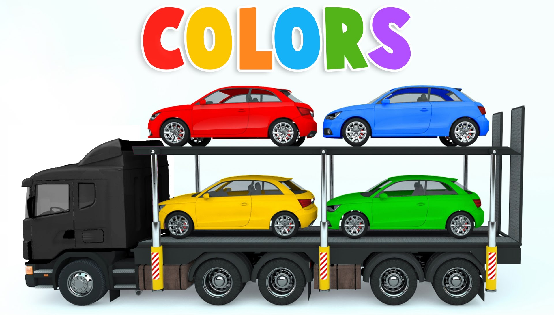 colors for children to learn with car transporter car toys colours for kids to learn youtube