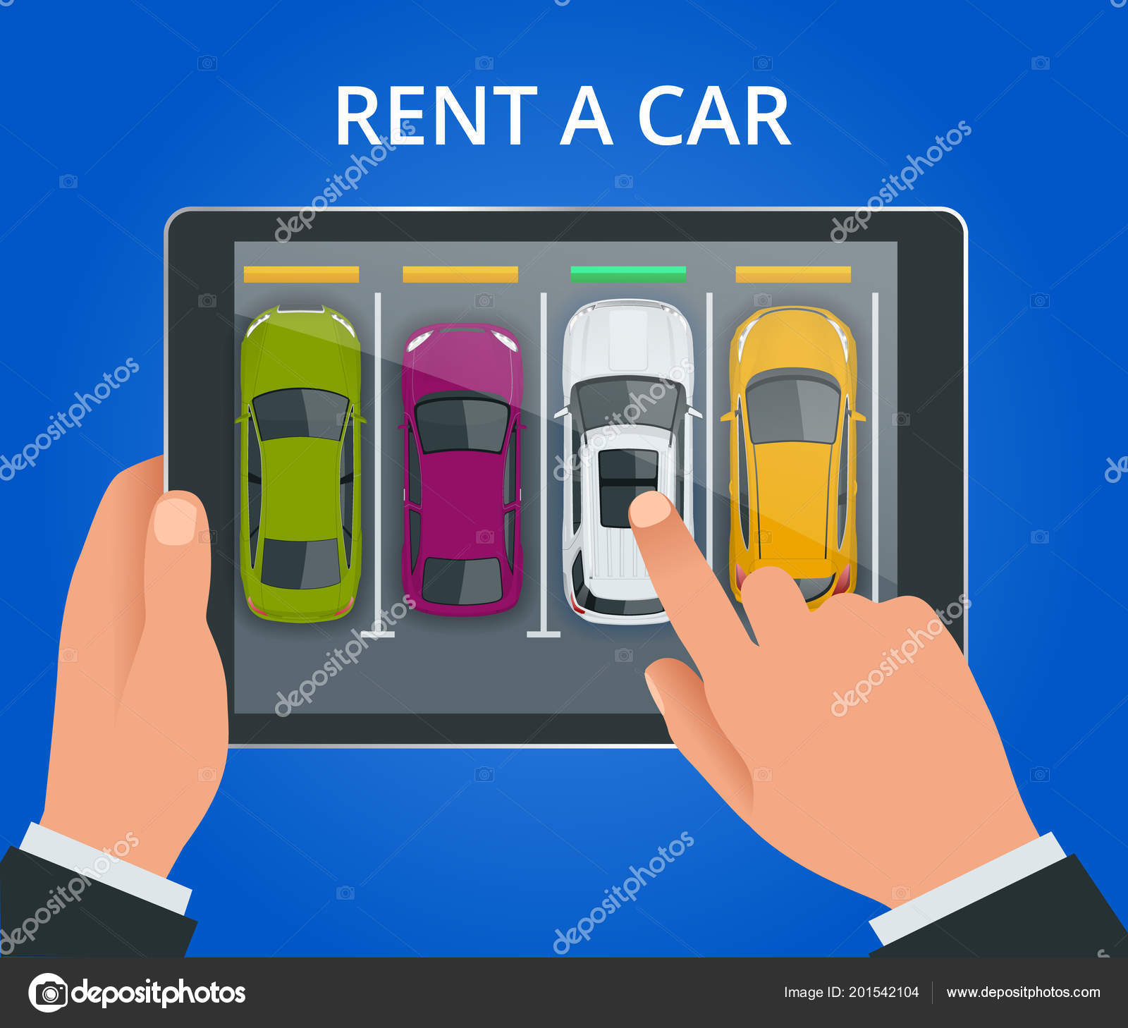 renting a new or used car car rental booking reservation on tablet used cars app vector illustration background — vector by galaktika new