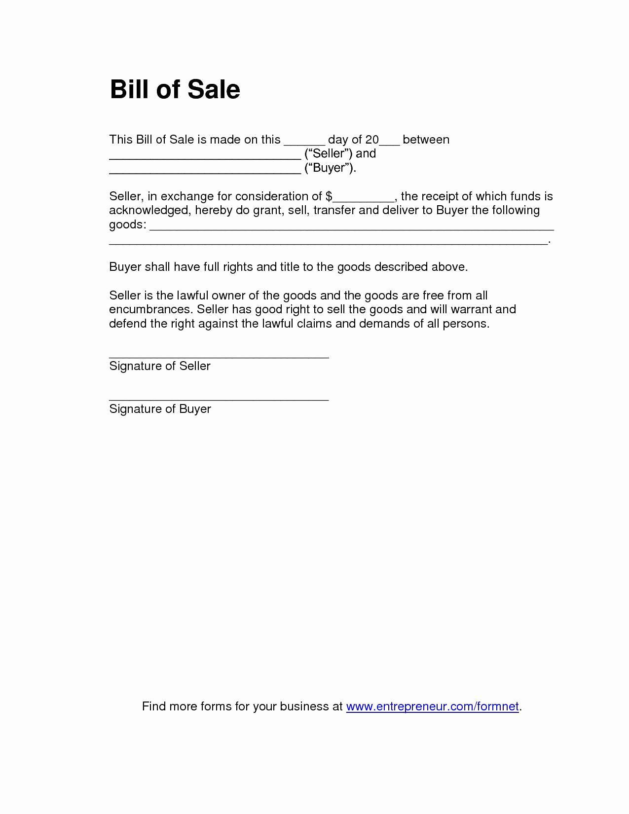 Used Car Bill Of Sale Inspirational Bill Of Sale for Used Car Template Unique Free Bill Sale Template