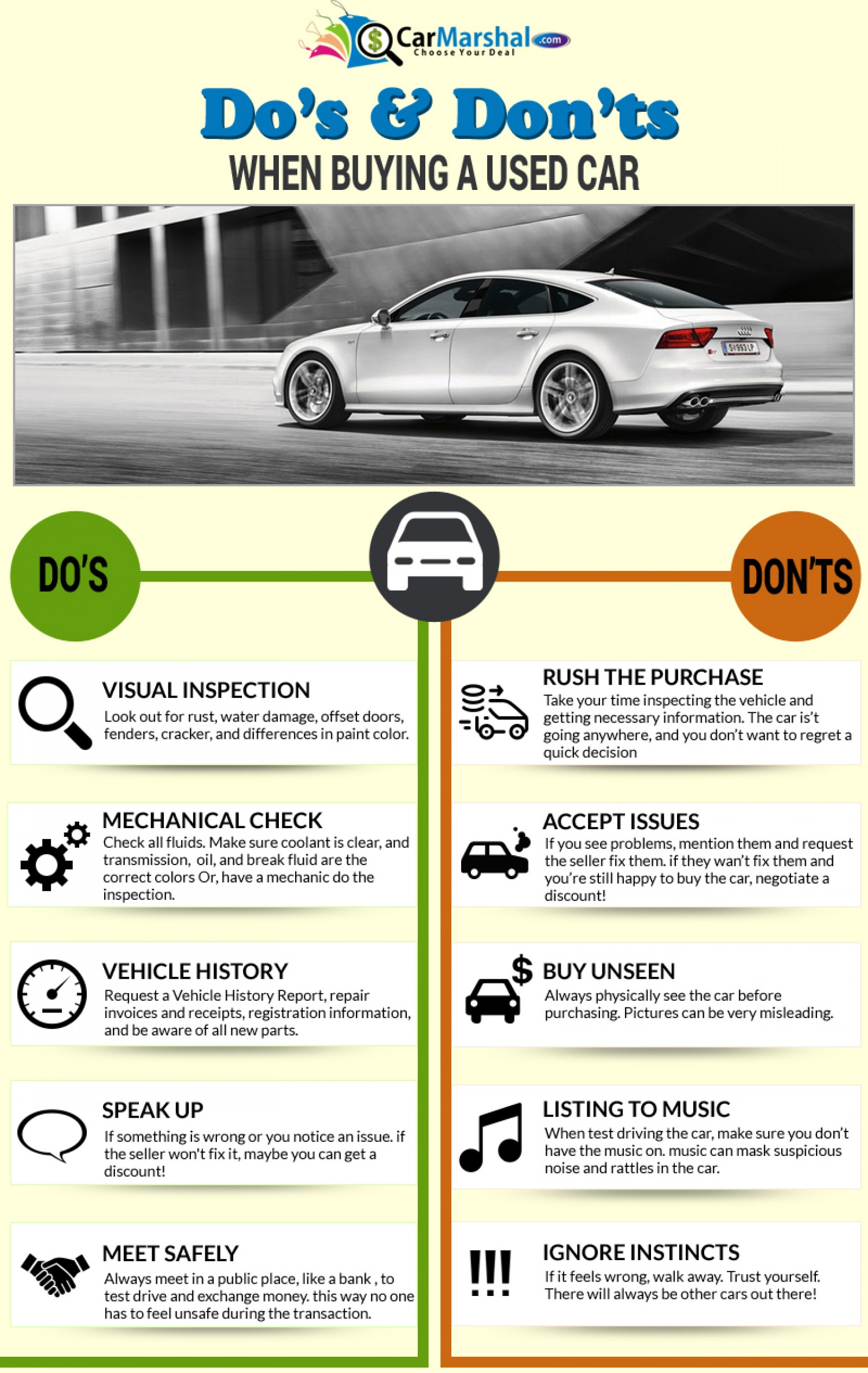 dos and don ts when ing a used car infographic