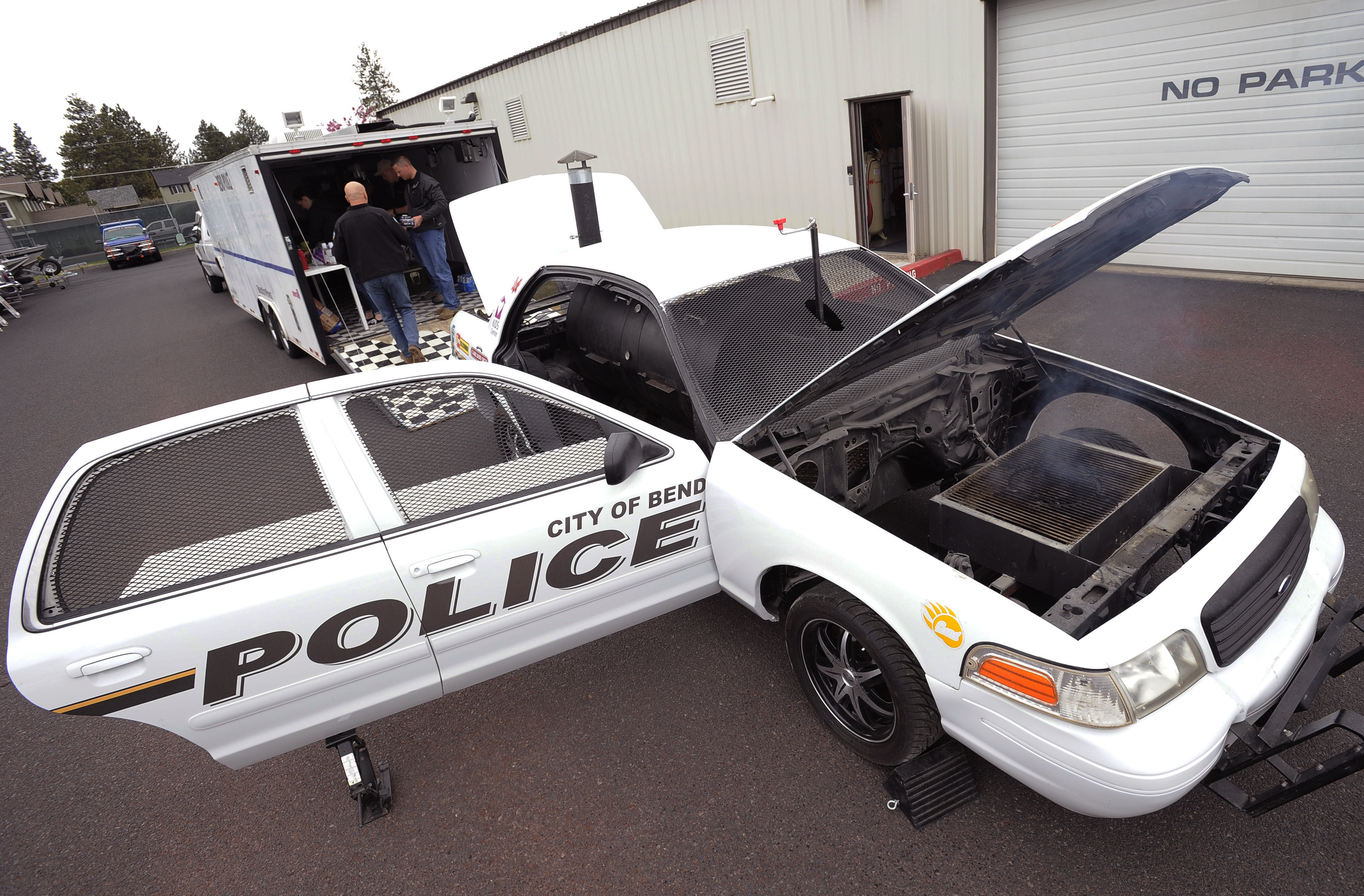 former police cruiser lives on as car b que