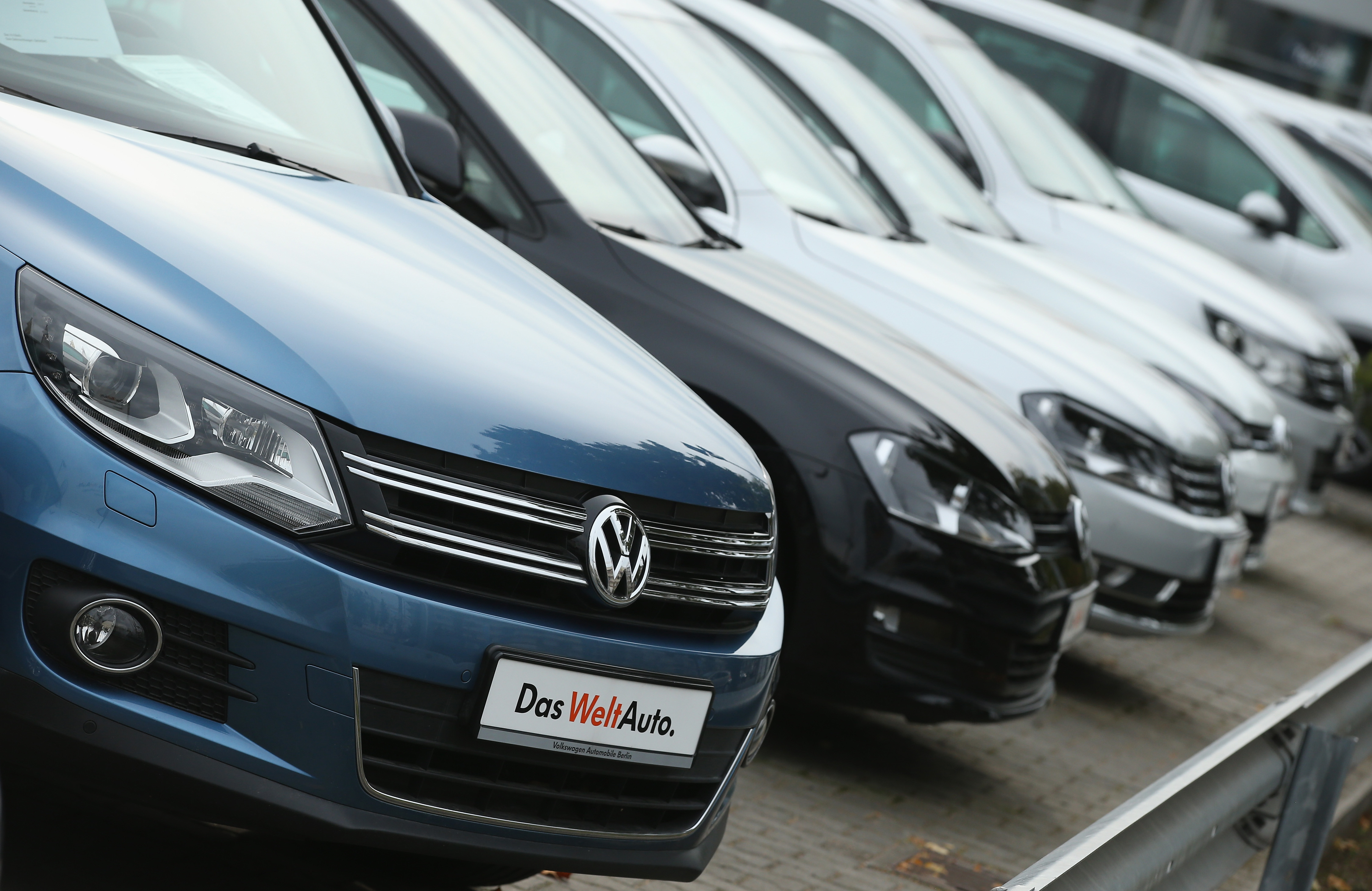 used cars of german carmaker volkswagen stand on display at a volkswagen car dealership