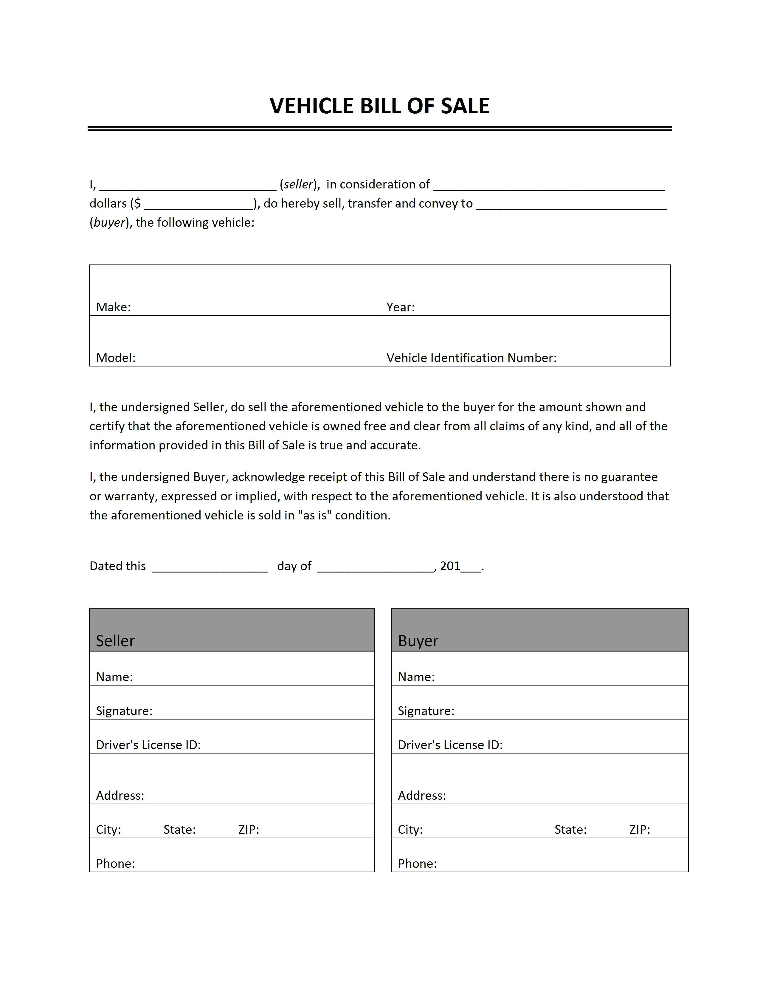 vehicle bill of sale word templates free word templates