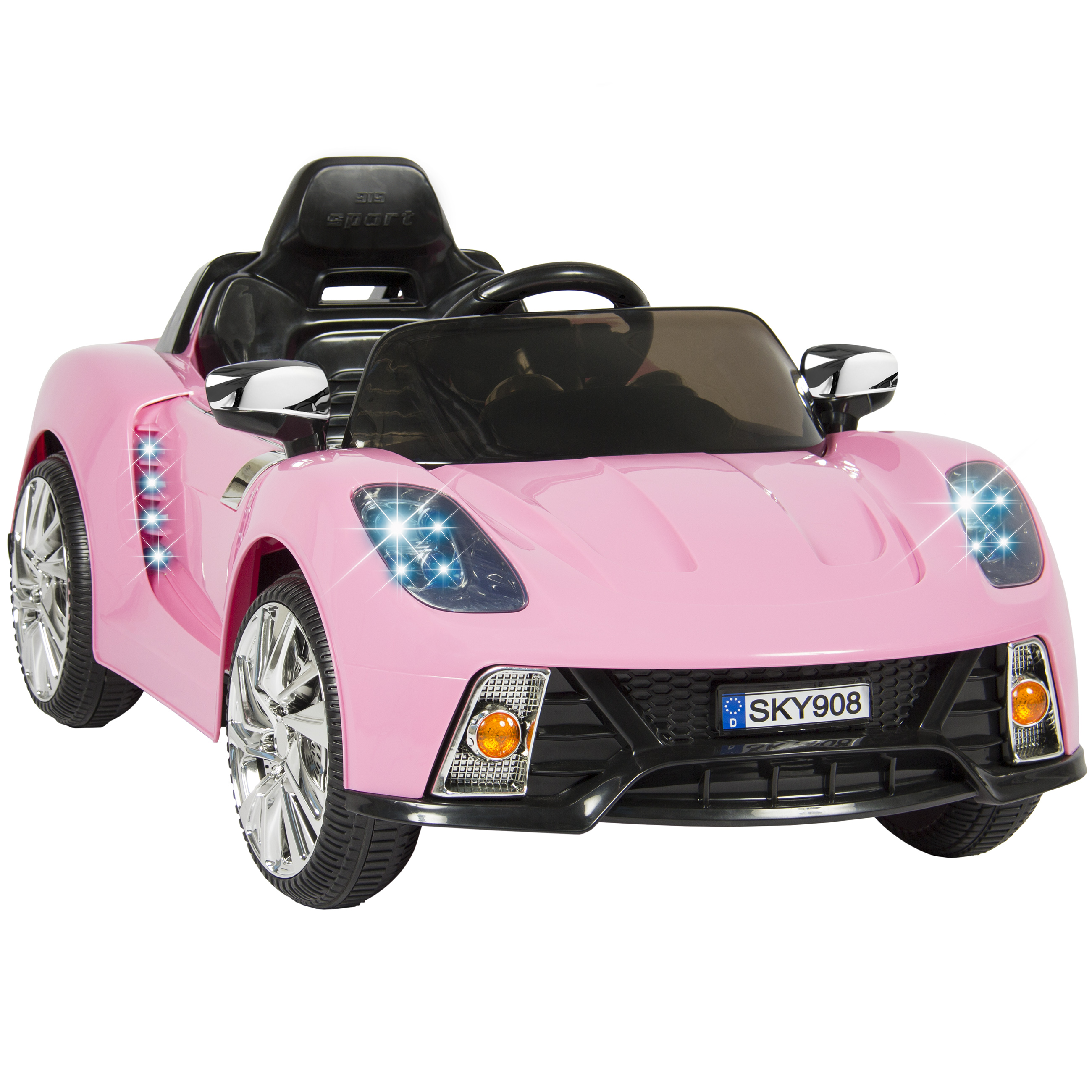 12v battery powered kids ride on car rc remote control w led lights music walmart
