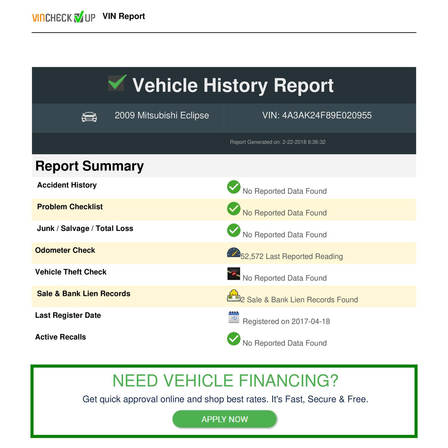 Best Free Vehicle History Report Awesome Vehicle History Report On Vin 4a3ak24f89e Pdf
