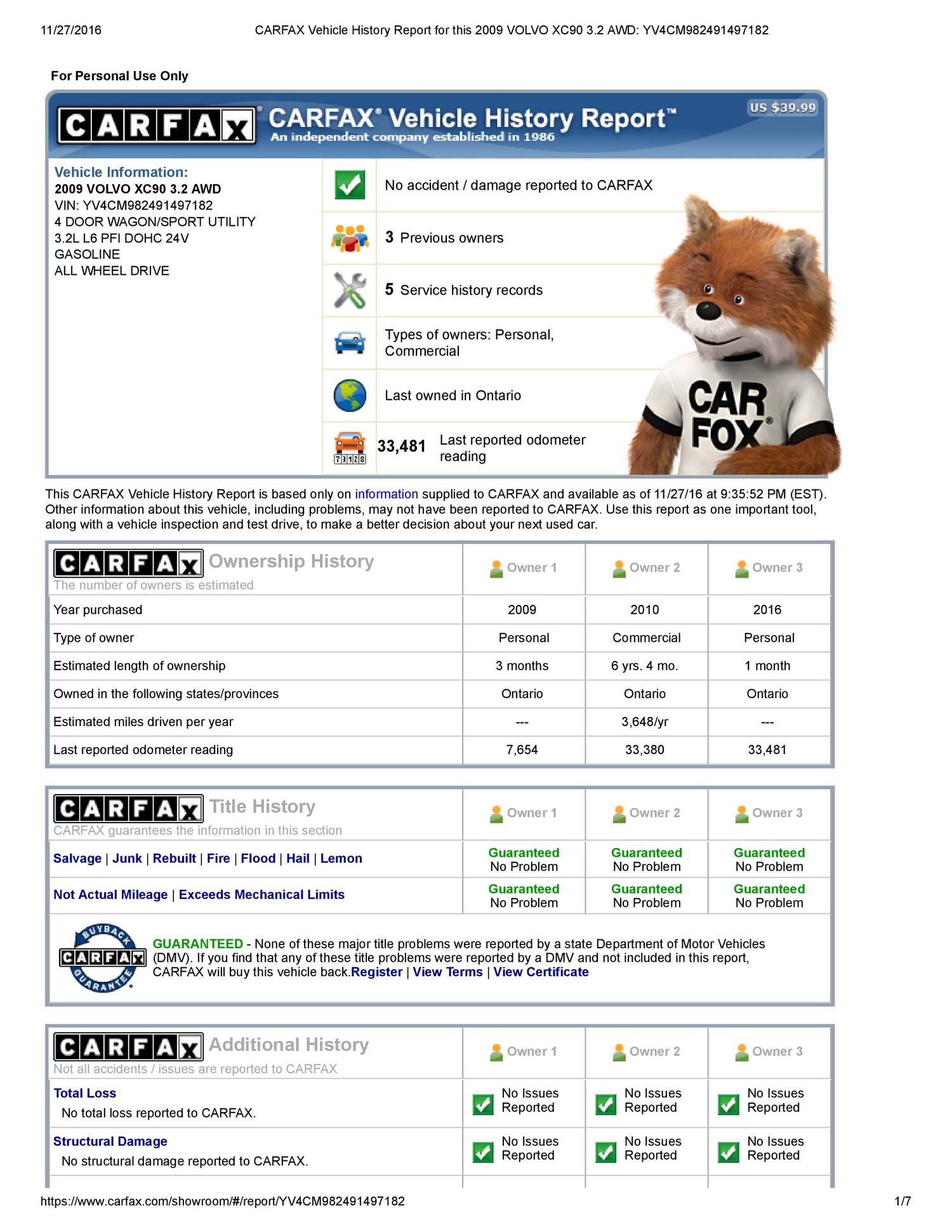 carfax vehicle history report for this 2009 volvo xc90 3