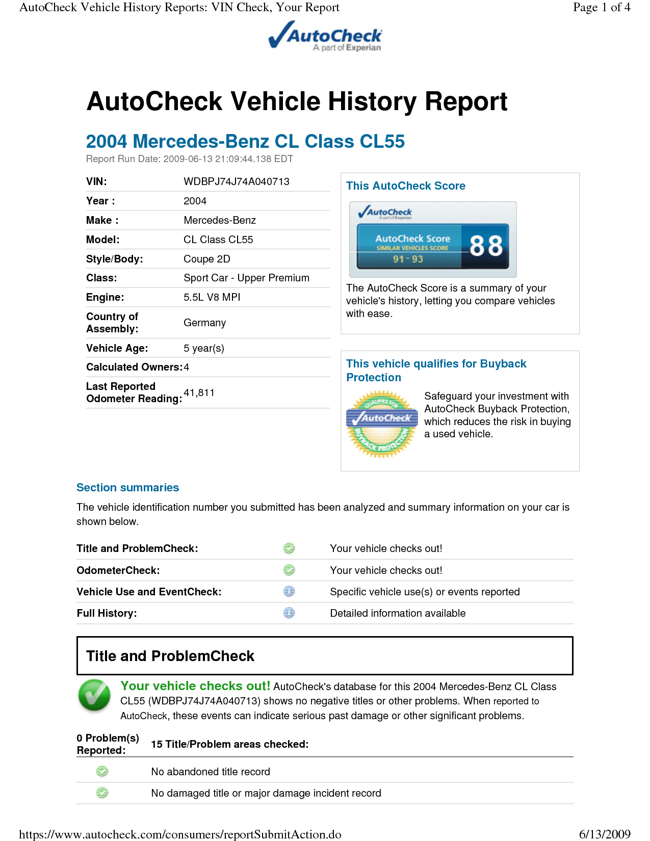 experian autocheck report when you a used car