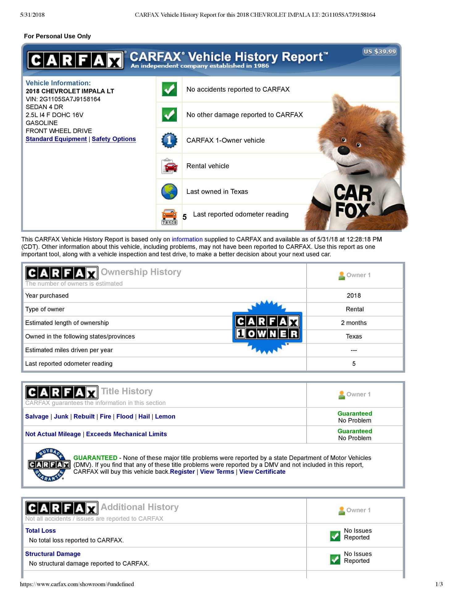 Carfax Company Unique Carfax Vehicle History Report for This 2018 Chevrolet Impala Lt