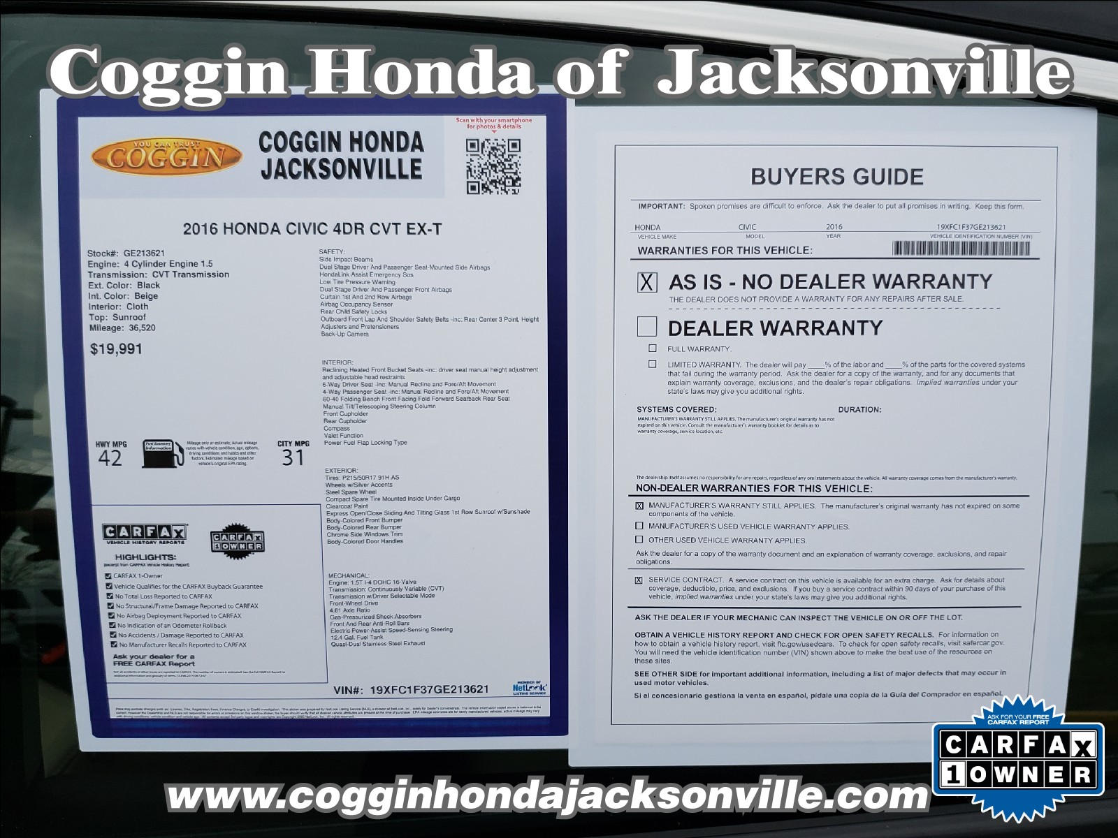 free carfax report 2016 unique used 2016 honda civic for sale at coggin honda jacksonville