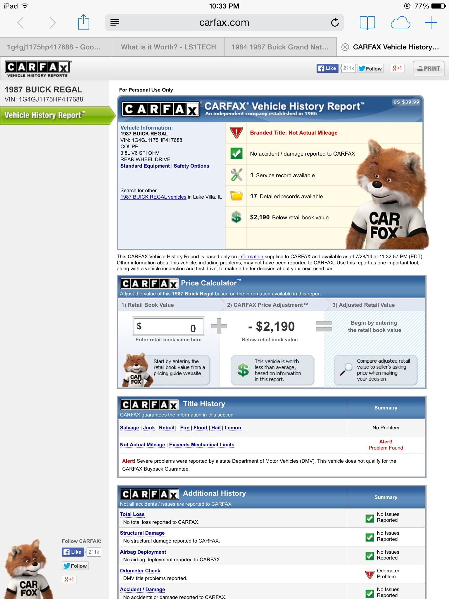 Share Carfax Inspirational Carfax Says Branded Title Not Actual Mileage Ls1tech