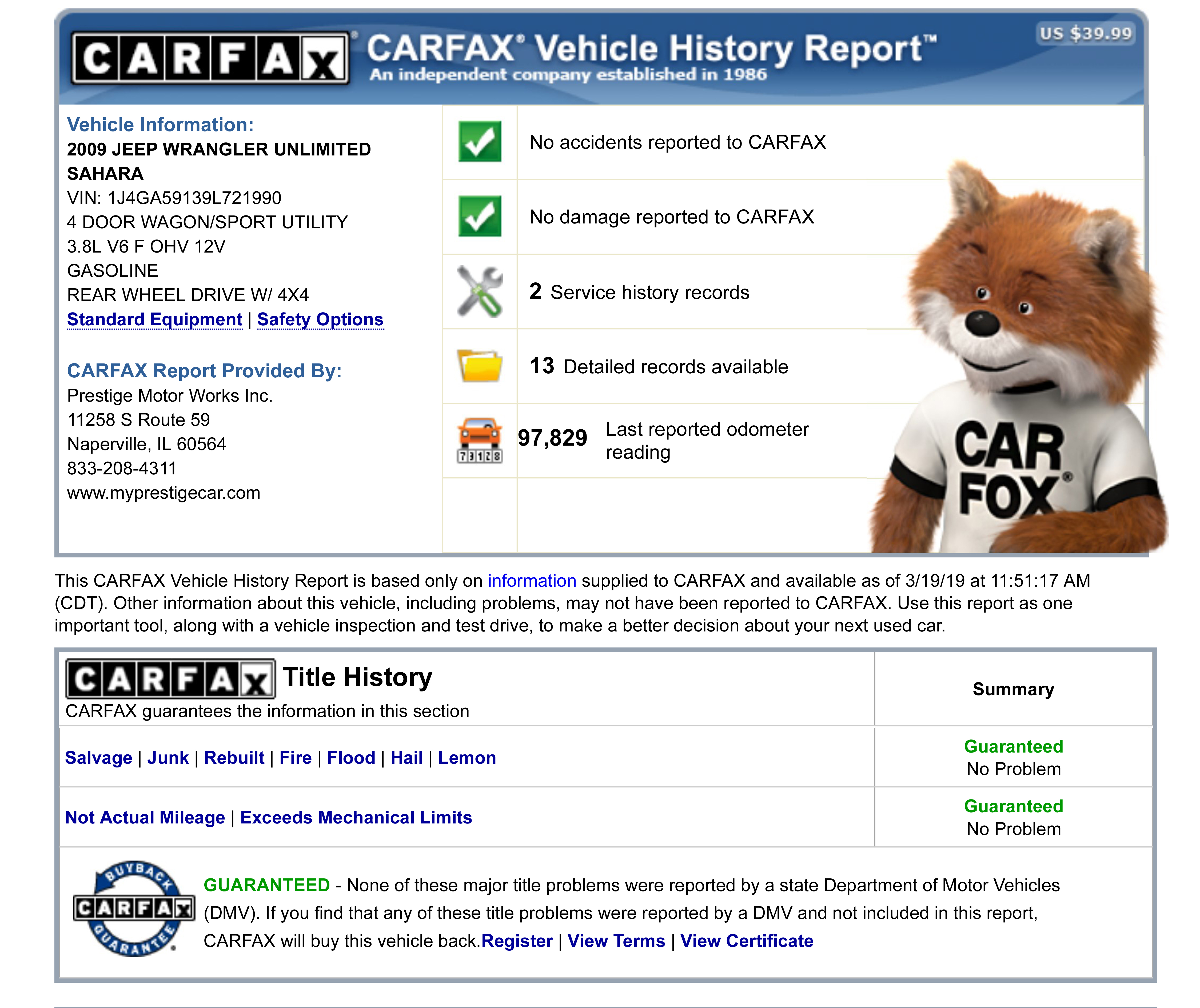 Share Carfax Luxury Stock C Used 2009 Jeep Wrangler Unlimited