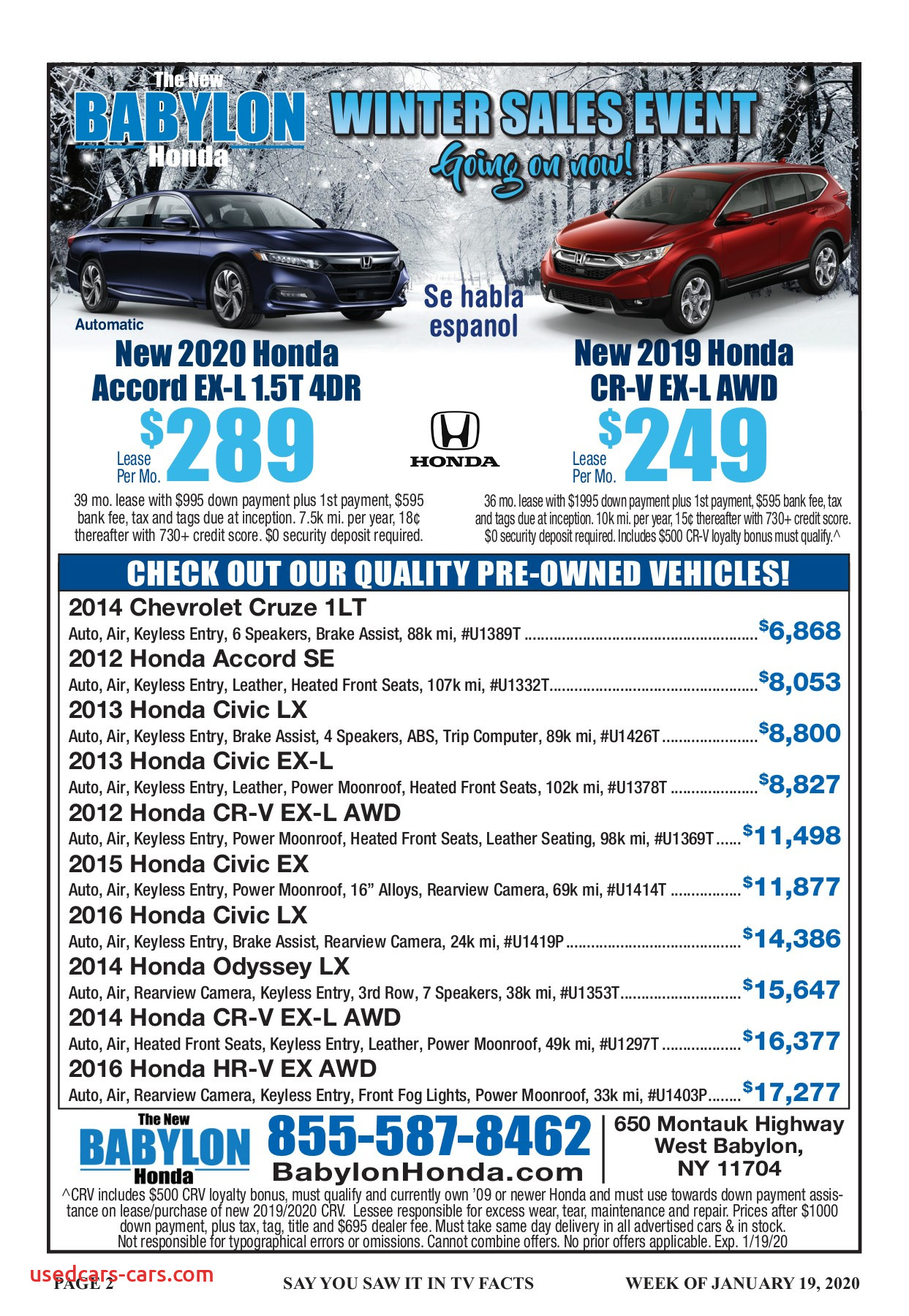 Tacoma Honda Awesome Tv Facts January 19 2020 Pages 1 36 Text Version
