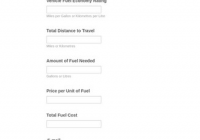 Fuel Cost Calculator Awesome Fuel Cost Calculator form Template Jotform