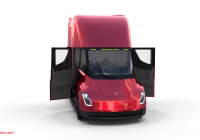 Red Tesla Luxury Tesla Truck with Chassis and Interior Red