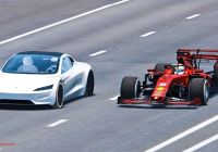 Tesla 1 4 Mile Elegant Watch Tesla Roadster Race Ferrari formula 1 Car Simulated Video