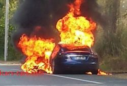 Luxury Tesla On Fire