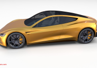 Tesla Roadster 2020 New Tesla Roadster 2020 Yellow with Interior and Chassis