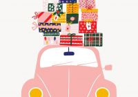 Volkswagen Beetle Pink Unique Holiday Vw Beetle with Presents Illustration – Christmas